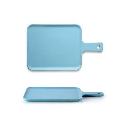 BXU-BG Nordic Placa Cerámica Inicio Pan Plano Occidental Restaurante Creativo vajilla de cerámica Desayuno Plato Snack-Plate Plato de Trompeta Azul - el Tablero de Pan 24.5X14.5X1.5Cm