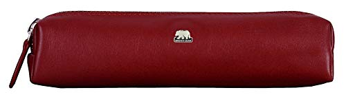 Brown Bear Echtleder Schreibgeräte-Etui Leder Rot mit Reißverschluss Echt-Leder Business Stifte-Etui hochwertig Federetui Federmäppchen Federtasche Schlamppermäppchen 3041 CRD