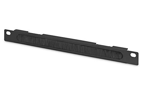 DIGITUS Kabeldurchführungspanel - 10-Zoll (254 mm) - Kabel-Zuführung - Mit Bürstenleiste - 0,5HE - Schwarz