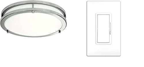 LED Flush Mount Ceiling Light, 12 inch, 15W Dimmable 1200lm, 4000K Cool White, Brushed Nickel Round Lighting Fixture, LED Dimmer Switch - On/Off Wall Dimmer Switch with Dimmable Slide, for LED
