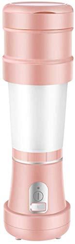supermalls Máquinas de exprimidor, exprimidores Cocina Portátil Blender USB Recargable Taza de Alta Capacidad Plegable Viaje Diseño Fruta Cubre Doble Mango (Color : Pink)