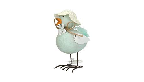 AmaCasa Vogel mit Strohhut   10x6x4,5cm   Ostern Frühling Sommer   Dekoration   Holz/Metall
