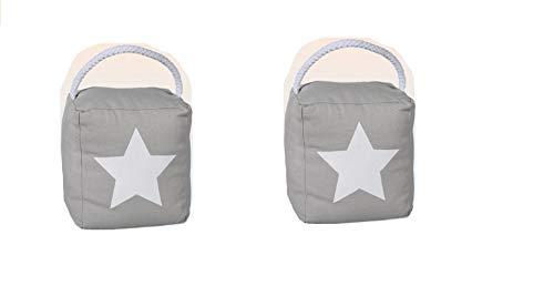 Türstopper Stern Stars grau grey Türpuffer Türhalter Tür Feststeller schwerer Stoff Sack 1 Kg