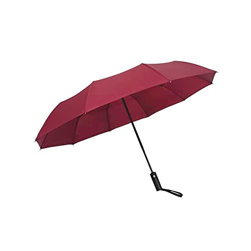 DTKJ Paraguas Totalmente automático, 10 Costillas, paño de Impacto Paraguas de Negocios Plegable para Acampar, Senderismo, al Aire Libre