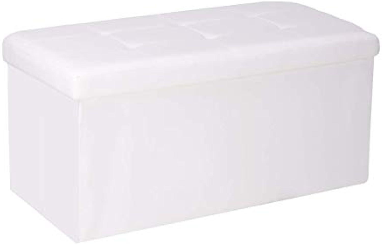 Garantía 100% de ajuste GOYOO Puff Plegable Baul Taburete para almacenaje Asiento Cochega Cochega Cochega máxima de 300 kg 76x38x38cm blancoo  hasta un 50% de descuento
