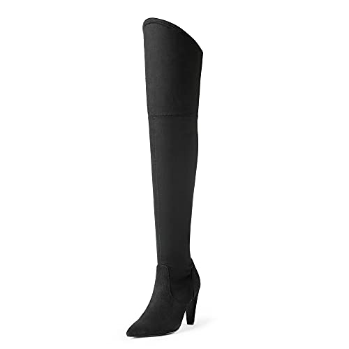 DREAM PAIRS Women's Dob214 Black Thigh High Boots Suede Over The Knee Heels Long Sexy Pointed Toe Boots, Black Suede, Size 11