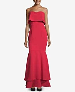 XSCAPE Womens Red Gown Tiered Strapless Full-Length Mermaid Evening Dress US Size: 6