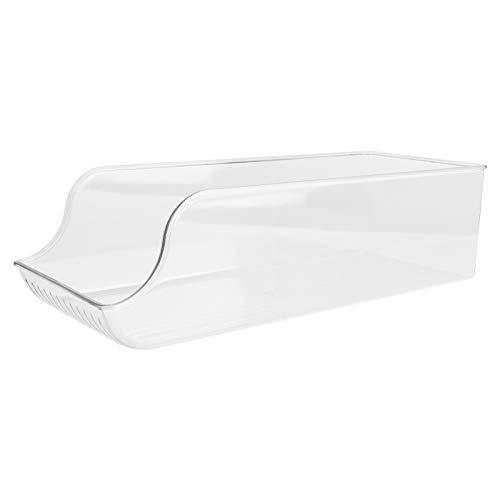 PIXNOR Caja de Almacenamiento de Nevera de Plástico Apilable Organizador Transparente Recipiente de Almacenamiento Congelador Caja de Almacenamiento de Alimentos Crujiente para Gabinete