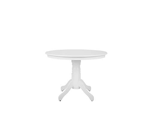 Beliani Vintage Retro Round Wooden Dining Room Pedestal Table 100 cm White Akron