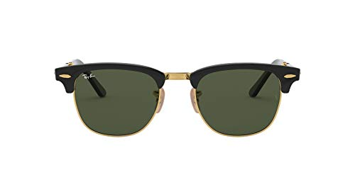 Ray-Ban - Gafas de sol Rectangulares RB2176 Clubmaster Folding, Multicoloured (Black/Green 901)