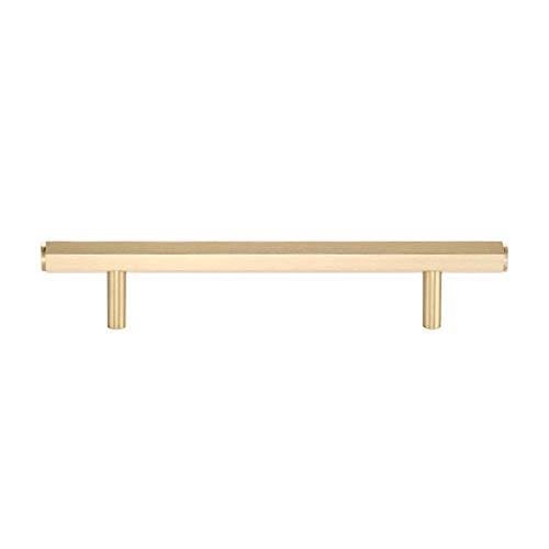 Tirador para puerta Cobre puro Tirador para Muebles BañoTiradores de Cajones dorado Perillas de Armarios de Cocina para cajón Armario Muebles Dormitorio(Hole distance:128mm)