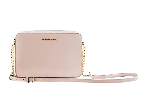 Made of Leather; Zip top closure with logo front; 1 open large compartment; 2 Large Slide pockets Logo jacquard lining; Adjustable Chain and Leather shoulder strap of 25.5 inches drop Gold hardware Measurements: Length: 9.5 x Height: 6.5 x Width: 2 I...