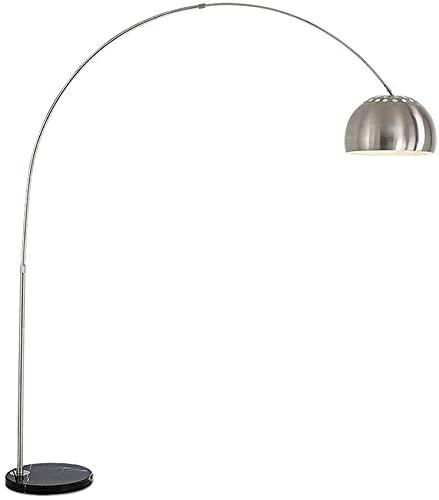 Lámpara de pie Sala de Estar arqueada m luz de Lectura Plateada cepillada,Base de mármol Arco de Pesca iluminación Decorativa de Oficina de Metal E27