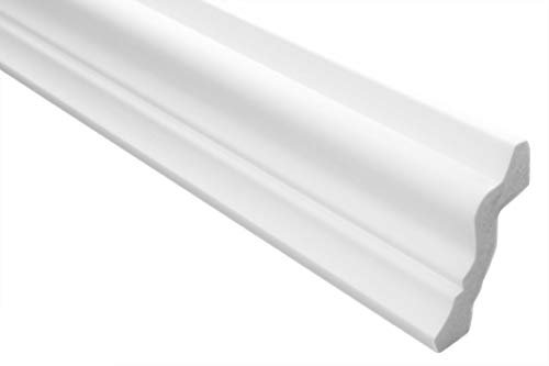 Zierleisten Sparpaket E-31 | leicht und stabil | extrudiertes Styropor | Stuckprofile | Decken-/ und Wandübergang | modern weiß | dekorativ | XPS | 42 x 50 mm | 20 Meter