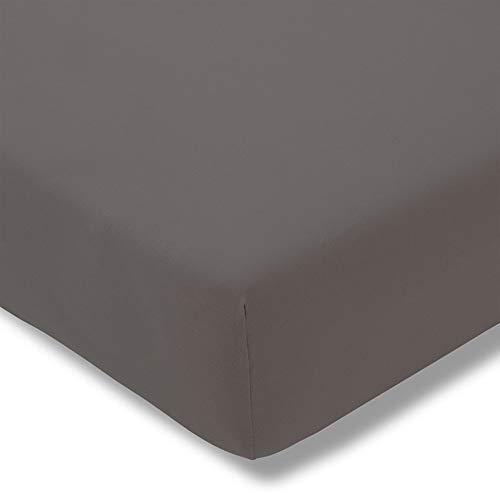 ESTELLA Spannbetttuch Zwirnjersey   Graphit   200x200 cm   passend für Matratzen 180-200 cm (Breite) x 200-220 cm (Länge)   trocknerfest und bügelfrei   97% Baumwolle 3% Elastan