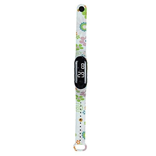 cdzhouji Karikatur-Kind-Uhr-wasserdichter Plastik Led Touch-Armbanduhr Mit Blumen-Druck