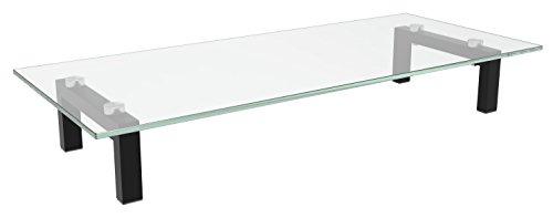 RICOO TV Board FS8235-C Aufsatz Tisch Ständer für Lowboard Sideboard & Kommode Bildschirmständer Standfuss Bildschirmerhöhung Stand Rack Regal Lift Podest | Schwarz & Klar-Glas Transparent Hochglanz