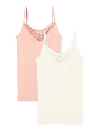 Only Onlkira Life Lace Singlet 2pack Noos Débardeur, Misty Rose/Paquet : Rose Misty/Bouleau, L Femme