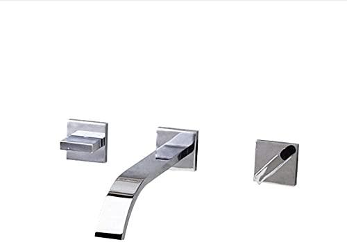 Grifo grifo cromado lavabo grifo montado en la pared baño grifo fregadero & amp frío oculto mezclador baño