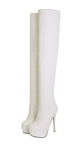 Overknee Stiefel High Heels Stiletto Stretch Boots mit 13cm Absatz Plateau Winter Schuhe(Weiß,35)