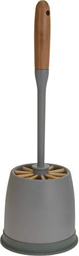 WC-Garnitur WC-Bürstenhalter Toilettenbürste mit Bambusgriff und Halter, 13x13x40 cm (grau/grün)