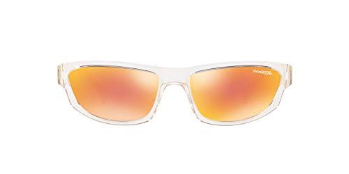 Arnette Men's AN4260 Lost Boy-Post Malone x Exclusive Collection Rectangular Sunglasses, Transparent/Orange Mirror Red, 56 mm