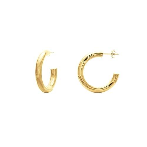 Pendientes de aro abiertos de oro amarillo de 14 quilates, 5 x 30 mm, joyería para mujer
