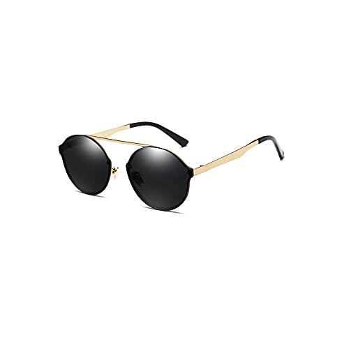 FEINENGSHUAItaiyj Gafas de Sol Hombre Gafas de Sol polarizadas Redondas para Hombres Mujeres espejadas Lentes clásicas Marco de Metal Gafas de Sol