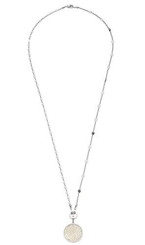 Jewels by Leonardo DARLIN'S Damen-Set-Halskette Vaporoso, Edelstahl mit Imitations-und Schliffglas-Perlen, Clip & Mix System, Länge 900 mm, 016817