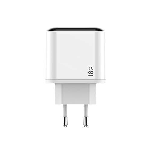 RUNNA Durable Serie Bossi HKL-USB570G 18W PD USB-C/Type-C + QC3.0 Puertos de Viaje USB con Pantalla LCD, Enchufe de la UE (Color : Color1)
