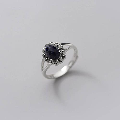 Good dress Anillo de plata S925, anillo hueco de plata S925 con corte de diamante retro facetado con diseño de arena morada, apertura ajustable