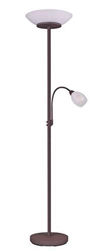 Reality Leuchten Stehleuchte Gerry R40063124, Metall rostfarbig, Glas weiß, exkl. 2x E27 & 1x E14