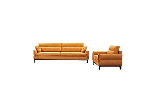 MOEBLO Polstergarnitur Sofa 2 Sitzer und Sessel Sofa Couch Garnitur Stoff Samt (Velour) Glamour Wohnlandschaft - Estela
