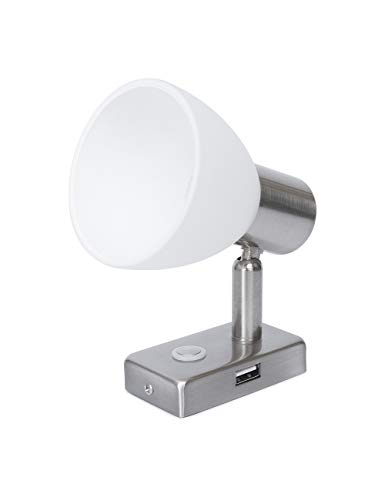 lighteu, 12V 3W D1 USB Decken- / Wandstrahler, Nickel-Finish, Nachttischlampe, Leselampe mit Touch-Schalter dimmbar warmweiß/blaues Licht für Yacht, Caravan, Wohnmobil