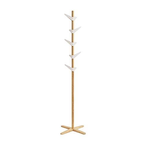 Creative Bird Coat Rack Independiente Perspieta de un Solo Pole Hall Hanger Dormitorio Pórchido Rack Bambú Percha de Madera Maciza