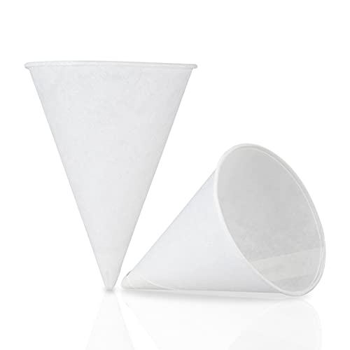 C&S Event Supply Co. White Paper Snow Cone Cups, Eco-Friendly, For Water, Shaved Ice, Slushies, Set of 200 (200, 4.5oz)