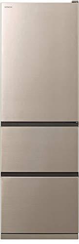 日立 冷蔵庫 幅60cm 375L シャンパン R-V38KVL N 3ドア 左開き まんなか野菜室 シンプルデザイン