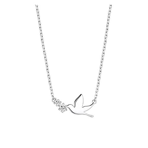 DSJTCH Korean 925 Sterling Silver Jewelry Zirconia Swallow Choker Necklaces for Women Wedding Girls Statement Jewelry