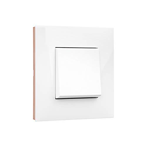 Placa embellecedora de 1 elemento, modelo Valena Next, color blanco y oro rosa, 5 x 9 x 9 centímetros (referencia: Legrand 741021)