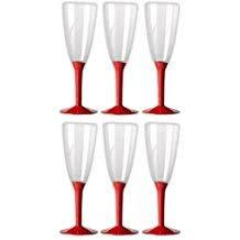 dalbags – Pack de pièces 6 verres Flûte à Champagne en plastique Transparent avec anse plusieurs couleurs (anse Rouge)
