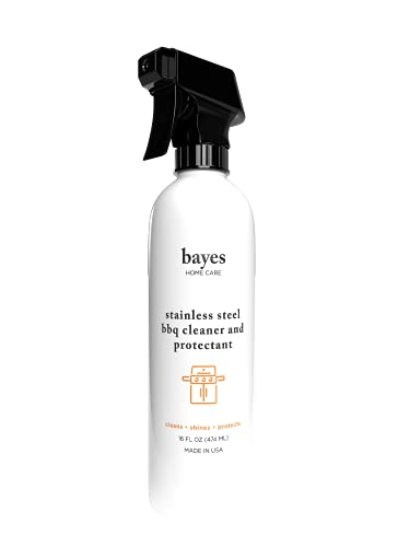 Bayes High-Performance Stainless Steel BBQ Exterior Cleaner and Protectant - Cleans, Shines and Protects Stainless Steel Barbecue Surfaces, Shields from Outdoor Elements - 16 oz