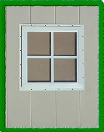 OUTDOOR PLAY AND STORAGE Square SHED WINDOW-12X12-WHITE-J-LAP
