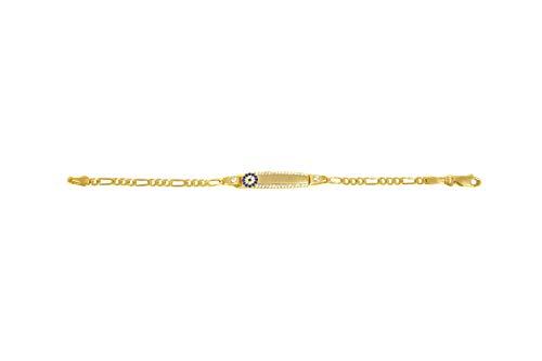 Remi Bijou 925 Sterling Silber - Künye Armband Armkette für Kinder Türkisches Auge Nazar Boncuk Gravurplatte (Gold ohne Gravur)