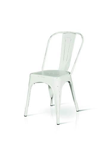 Fashion Commerce Tolix Sedie, Metallo, Bianco, 45x50x60 cm, 4 Unità