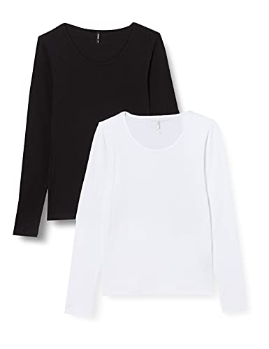 Only ONLLIVELOVE Life L/S Oneck Top 2PACK JRS Camiseta, Negro y Blanco, M para Mujer