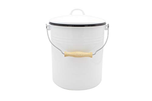 Mülleimer mit Deckel emailliert, weiß, 10 Liter