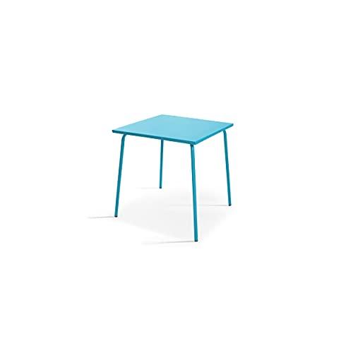 Oviala Table de Jardin Bleu Carré 70 x 70 x 72 cm Acier 4 Places Palavas