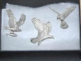 Falcon Livr/é dans un coffret cadeau-Lot de 3 Pins en /étain Motif oiseaux de proie Eagle Osprey de poissons