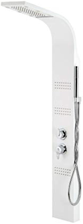 LED Duschpaneel Duschsystem Regendusche Aluminium ROYAL A-013S (Weiss)