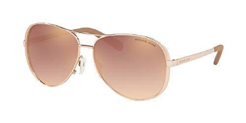 Michael Kors MK5004 CHELSEA Aviator 11086F 59M Rose Gold/Rose Gold Gradient Flash Sunglasses For Women +FREE Complimentary Eyewear Care Kit